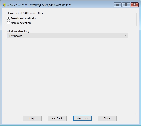 Elcomsoft System Recovery: dumping SAM password hashes