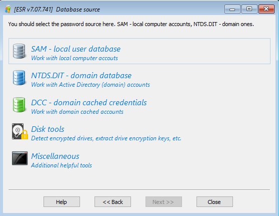 Elcomsoft System Recovery: selecting database source