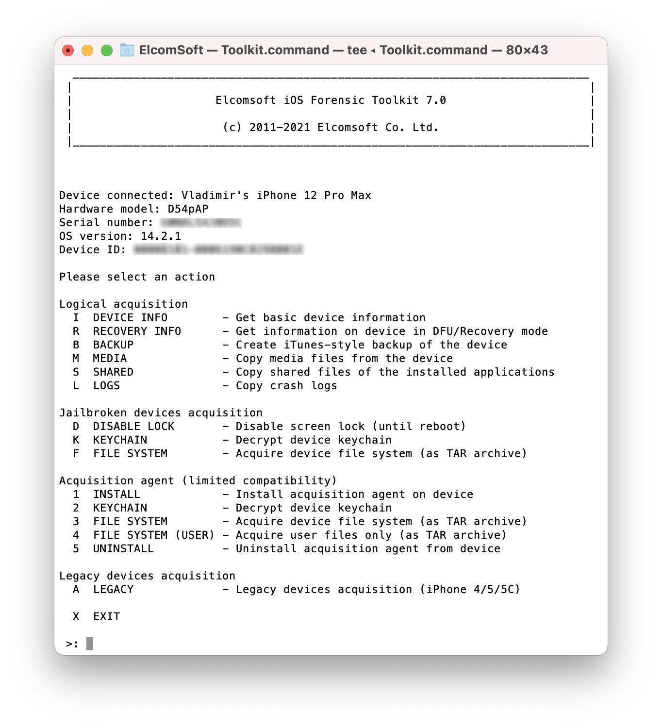 Elcomsoft iOS Forensic Toolkit main window