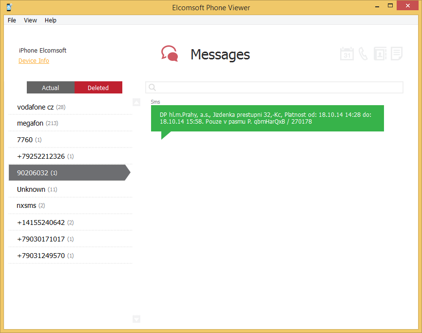 Elcomsoft Phone Viewer: Messages
